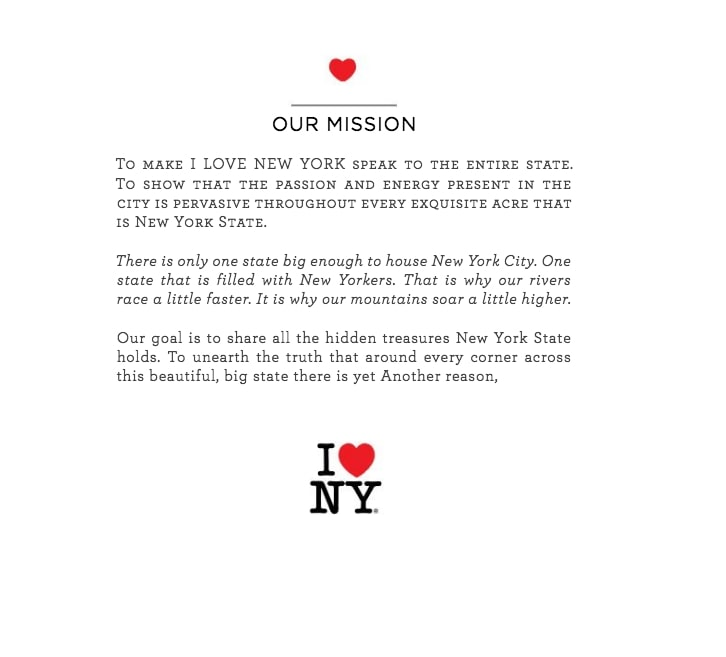 "The mission statement from the ""I Heart NY"" brand style guide."